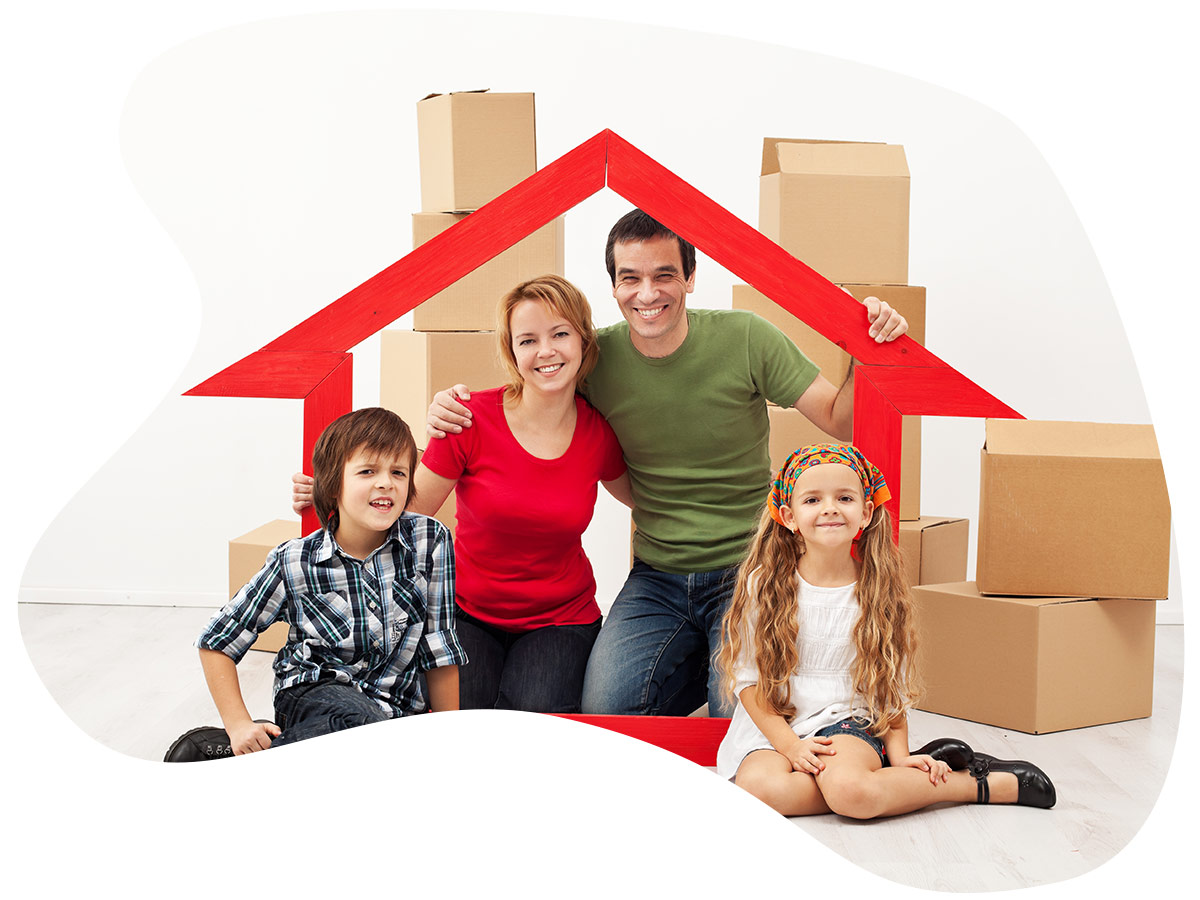 Happy family moving into a new home.